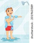 young boy having shower vector...   Shutterstock .eps vector #201963589