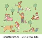 children who love animals.... | Shutterstock .eps vector #2019652133