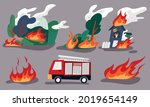 a burning forest  a man trapped ... | Shutterstock .eps vector #2019654149