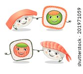 sushi and rolls. vector... | Shutterstock .eps vector #201971059