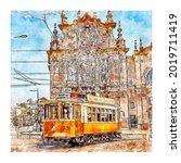 portugal watercolor sketch hand ... | Shutterstock .eps vector #2019711419