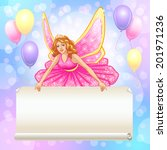 flying fairy with scroll.... | Shutterstock .eps vector #201971236