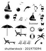 collection of vector summer... | Shutterstock .eps vector #201975094