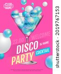 cocktail disco party poster...   Shutterstock .eps vector #2019767153