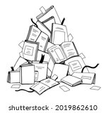a bunch of textbooks  books and ... | Shutterstock .eps vector #2019862610