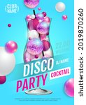cocktail disco party poster...   Shutterstock .eps vector #2019870260