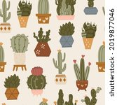 seamless pattern with cactuses... | Shutterstock .eps vector #2019877046