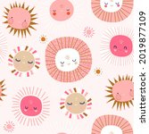 seamless patterns with funny... | Shutterstock .eps vector #2019877109