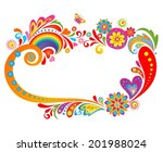 summery floral frame | Shutterstock .eps vector #201988024