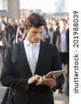male commuter in crowd using... | Shutterstock . vector #201988039