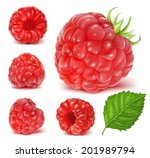 Collection Of Ripe Raspberries...