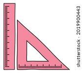 triangular ruler and straight... | Shutterstock .eps vector #2019900443