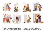 set of happy people leaving or... | Shutterstock .eps vector #2019902990