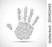 human hand palm with electronic ...   Shutterstock .eps vector #2019913403