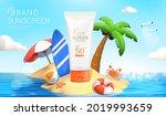 3d sunscreen tube ad.... | Shutterstock .eps vector #2019993659