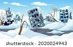 ice age. cartoon game landscape ... | Shutterstock .eps vector #2020024943