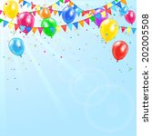 colorful birthday balloons ... | Shutterstock .eps vector #202005508