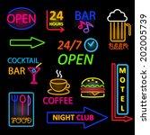 vector neon icon set   Shutterstock .eps vector #202005739