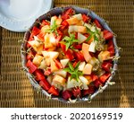 Large Dish Of Fresh Cut Fruit ...
