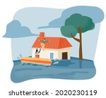 the flood flooded the city. a...   Shutterstock .eps vector #2020230119