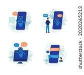 chatting bot. set of modern... | Shutterstock .eps vector #2020265213