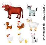 farm animal collection set | Shutterstock .eps vector #202028350