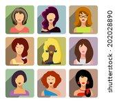 avatars  business women  flat... | Shutterstock . vector #202028890