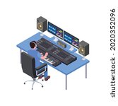 isometric icon with music or... | Shutterstock .eps vector #2020352096