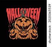 halloween themed illustration...   Shutterstock .eps vector #2020365539