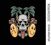 funny skull illustration vector ...   Shutterstock .eps vector #2020365926