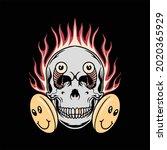 funny skull illustration vector ...   Shutterstock .eps vector #2020365929