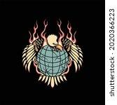 eagle tattoo illustration...   Shutterstock .eps vector #2020366223