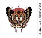 tiger illustration tattoo...   Shutterstock .eps vector #2020366580