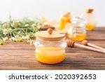 Jar Of Sweet Honey On Table