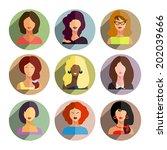 avatars  business women flat... | Shutterstock .eps vector #202039666