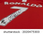 Small photo of BANGKOK, THAILAND-AUGUST 8: View of Manchester United 2008 Jersey with Cristiano Ronaldo His Autograph as a Sport Memorabilia on August 8,2021