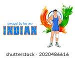 illustration of indian wrestler ... | Shutterstock .eps vector #2020486616