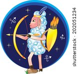 sagittarius with bow and arrows ... | Shutterstock .eps vector #202051234