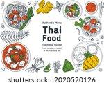 thai food top view vector... | Shutterstock .eps vector #2020520126