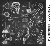 sciences doodles icons vector... | Shutterstock .eps vector #202055350