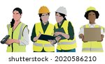 warehouse workers set. manager...   Shutterstock .eps vector #2020586210
