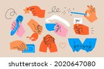 various hands holding things.... | Shutterstock .eps vector #2020647080