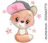 cute cartoon fox with a pink...   Shutterstock .eps vector #2020665773