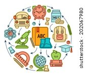 education sketch icons set... | Shutterstock .eps vector #202067980