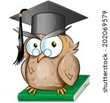 wise owl cartoon isolated   Shutterstock .eps vector #202069579