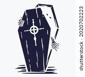 halloween coffin of skeleton or ...   Shutterstock .eps vector #2020702223
