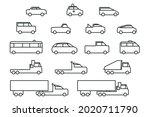 simple line art car icons set....