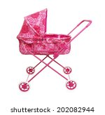 Toy Pink Pram Isolated On A...