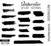 set of black hand painted brush ... | Shutterstock .eps vector #202091158