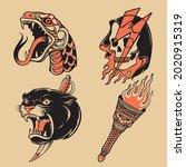 old school tattoo vector set | Shutterstock .eps vector #2020915319